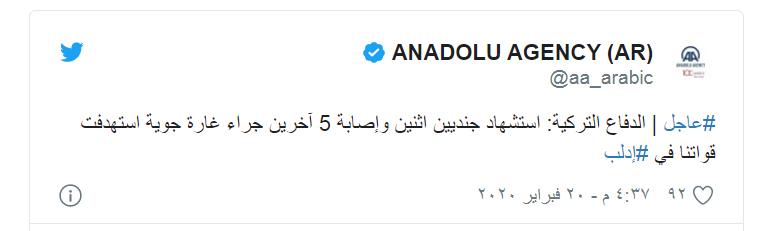 مقتل جنديين من الأحتلال التركي وإصابة 5 آخرين في قصف جوي بالنيرب قرب إدلب
