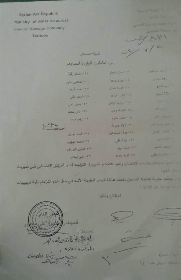 قرار معاقبة موظفين بسبب عدم حضورهم بجانب مديرهم يوم الانتخاب