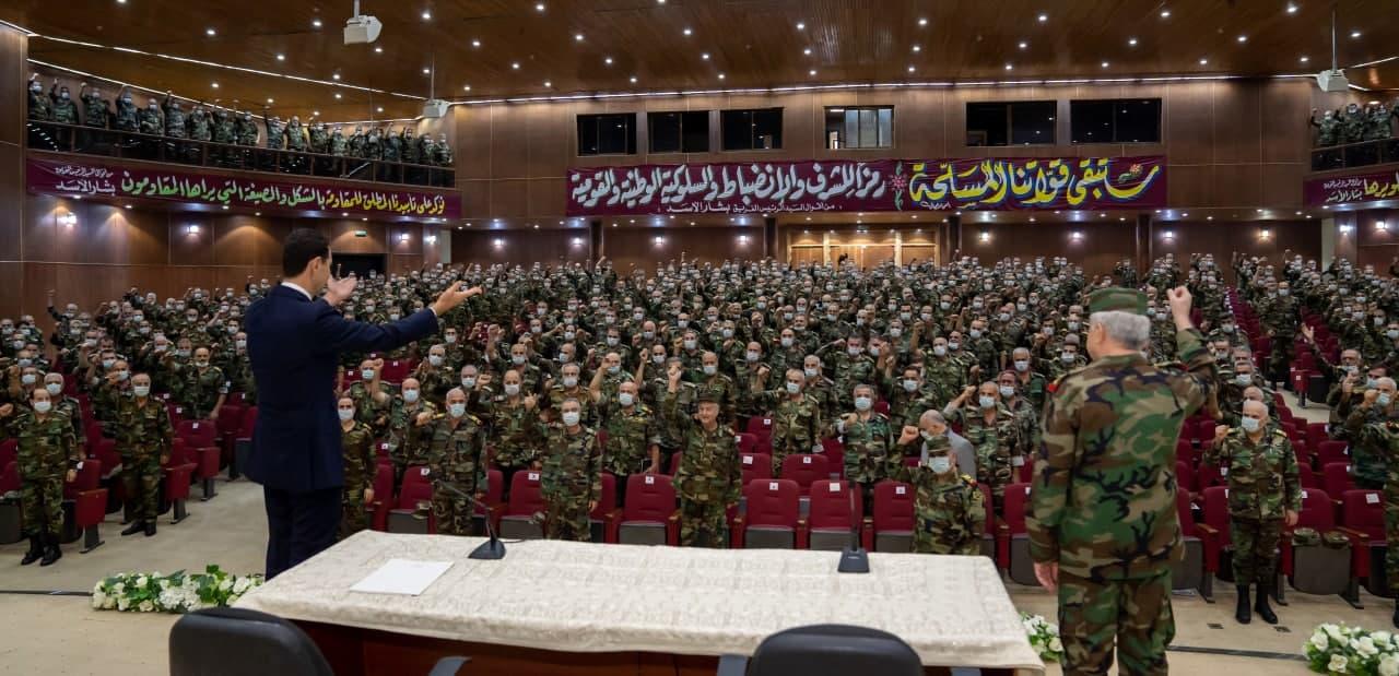 الرئيس الأسد لخريجي الأكاديمية العسكرية العليا بدمشق (قيادة وأركان): من يصنع تاريخ هذا الوطن هو القوات المسلحة